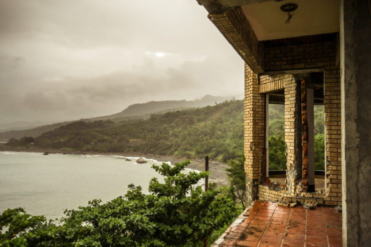 The rainy coast of Taitung from the abandoned hotel on the hill